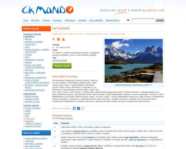 CK Mundo - zájezdy Patagonie